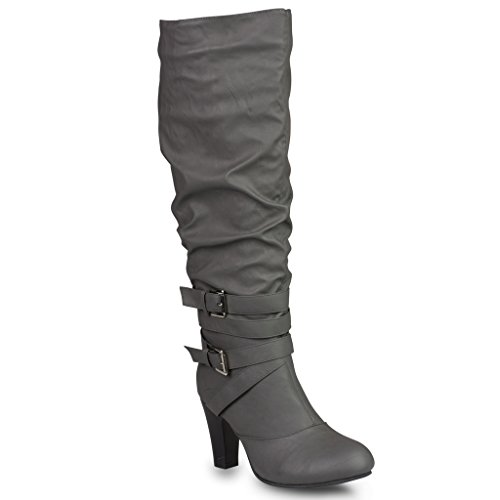 Twisted Women's HAILEY Faux Leather Wide Calf Knee-High Western Heeled Riding Boot with Multi Buckle Straps - GREY, Size - Buckle Multi Womens