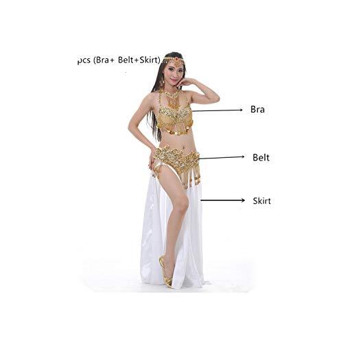 Women Adult Belly Dance Costume 2/3Pcs Set Bra Belt Long Skirt Belly Dancing,Gray,L]()