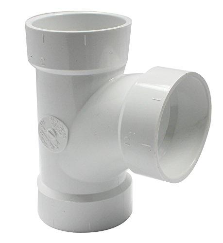 Canplas 192152L PVC DWV Sanitary Tee, 2-Inch, White (Dwv Tee Sanitary)