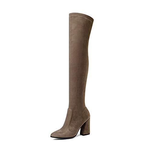 des Femmes d'automne d'hiver hauts HCBYJ du en Talons Cuir Couvrent Genou et Bottes Cuir Dames PU Talons de décontractées Chaussures Chaussures sur Les Hauts de Bottes TqqgwpHCx