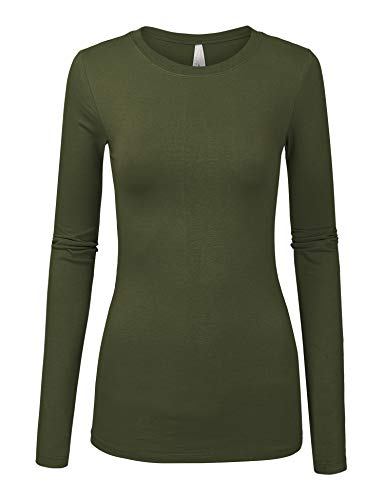Womens Basic OLIVEColors Slim Fit Long Sleeve Round Neck Top (1100-OLIVE-L) ()