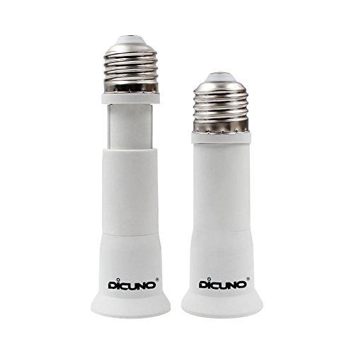 DiCUNO E26/E27 Socket Extender Adapter, E26/E27 to E26/E27 Edison Screw Converter, Lamp Bulb Socket Extension, Lamp Holder Adapter (2-Pack)