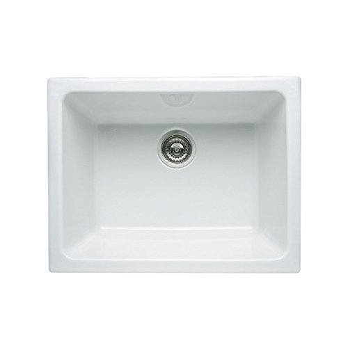 Rohl 6347-00 23-15/16-Inch by 18-1/2-Inch by 10-13/16-Inch Allia Single Bowl Undermount Fireclay Kitchen Sink in ()