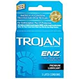 Trojan ENZ Premium Lubricated Condom for Contraception and STI Protection, 3 Count