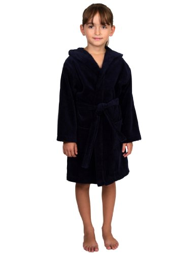 le Girls' Turkish Cotton Hooded Terry Velour Kids Bathrobe Cover-up Size 6 Navy ()
