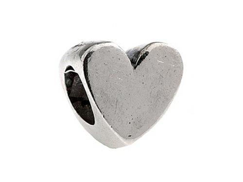 SilveRado Sterling Silver Polished Heart Bead / Charm (Silverado Charm Bead)