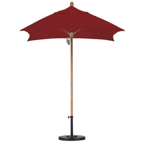 Square Fiberglass Market Umbrella - California Umbrella 6' Square Hardwood Pole Fiberglass Rib Market Umbrella, Stainless Steel Hardware, Pulley Lift, Sunbrella Terracotta