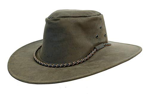 - Kakadu Traders The Roo Traveller Leather Hat-Kangaroo Leather Made in Australia Brown