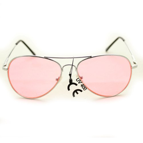 Aviator Fashion Sunglasses 30011c Silver Frame Pink Lens for Men and - Online Sunglasses Celebrity