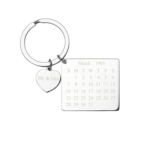 Jovivi Custom Personalized Calendar Date Engraved Message Stainless Steel Dog Tag Keychain Heart Charm Memorial (Engraving)