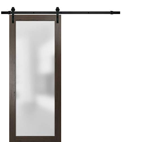 Sliding Barn Lite Glass Door 32 x 80 | Planum 2102 Chocolate Ash | 6.6FT Rail Hangers Stops Hardware Set | Modern Solid Core Interior Door Eco-Veneer
