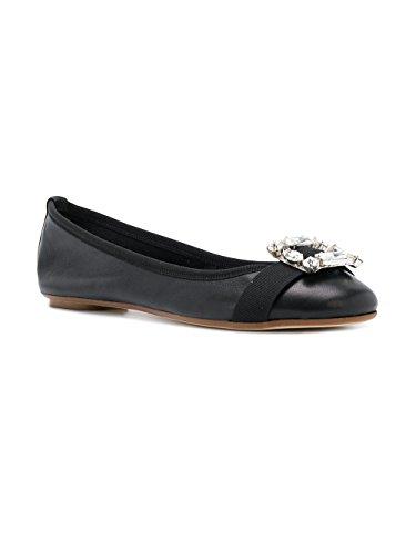 Anna Baiguera Women's P38354NATURBLACK Black Leather Flats zBDsTn8KN
