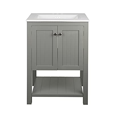 "Monroe Bathroom Vanity Set with Ceramic Top in White and Integrated Sink (30"") YS1130 - QUAINT TRANSITIONAL DESIGN. The Monroe bathroom vanity set in Cool Gray brings your bathroom timeless style in its simple, compact design suitable for small bathrooms. The integrated sinktop makes installation a breeze. HIGH QUALITY MATERIALS. Our bathroom vanity bases are made of solid wood frames and hardwood plywood, fully finished inside and out. Our sinks are made of all-natural vitreous china ceramic, hand sanded and finished. OVERALL MEASUREMENTS: 30"" W x 22"" D x 34.2"" H - bathroom-vanities, bathroom-fixtures-hardware, bathroom - 313DvvkpKUL. SS400  -"