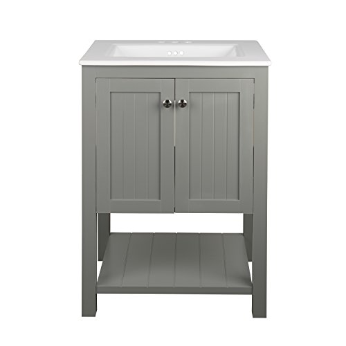 Monroe Bathroom Vanity Set with Ceramic Top in White and Integrated Sink (24'') by Ronbow