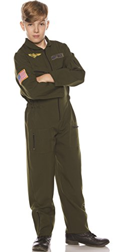 Underwraps Kid's Children's Air Force Flight Suit Costume - Khaki Childrens Costume, Green, Large]()