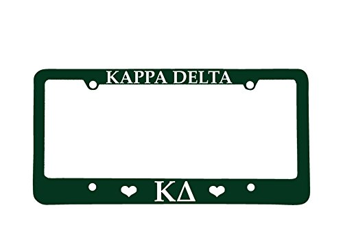Officially Licensed Kappa Delta License Plate Frame - Green with Hearts (License Delta Frame Plate)