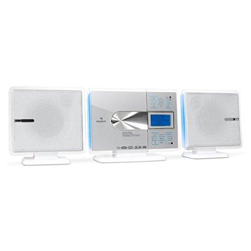 auna VCP191 Stereoanlage Design Microanlage (CD-Player, MP3-fähig, Radio-Tuner, Touchpad-Armatur mit Hintergrundbeleuchtung, Fernbedienung) weiß