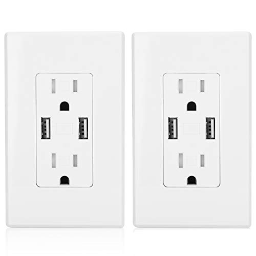 USB Wall Outlet by BESTTEN, 15A Tamper Resistant Duplex Receptacle with Dual 3.8A USB Charging Ports, Screwless Wall Plates Included, UL Listed, White, Pack of 2