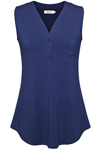 BEPEI Sleeveless Shirts For Women, Tank Tops Casual Plus Size V Neck Blue XL