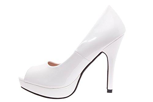 Andres Machado AM5003.Patent/Engraved Faux Leather Peep Toe Platform Pumps.Petite and Large Sizes.Size Range: UK 0.5 to 2.5/EU 32 to 35 - UK 8 to 10.5/EU 42 to 45. White Patent 8sAeC