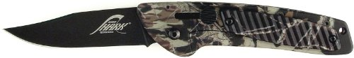 Ruko 3-Inch Blade Folding Knife with Plain Edge Shark Lever Action Camouflage Handle