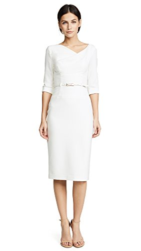 Black Halo Women's 3/4 Sleeve Jackie O Dress, Winter White, 4