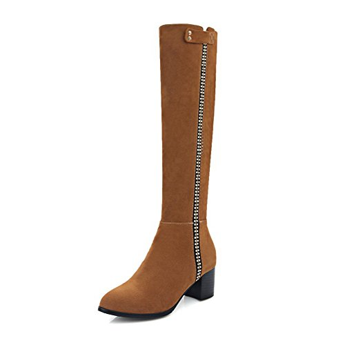 Allhqfashion Women's Solid Kitten-Heels Round Closed Toe Flock Zipper Boots Yellow vj6TwyaYJw