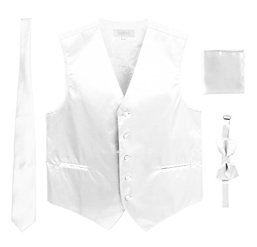 Satin Strap Vest - Men's Formal 4pc Satin Vest Necktie Bowtie and Pocket Square, White, X Small