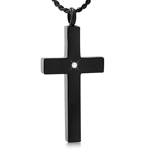 Imrsanl Crystal Cross Cremation Necklace for Ashes Stainless Steel Keepsake Jewelry Cross Memorial Urn for Pet Human (Black-1)