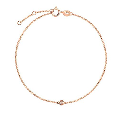 - Carleen 18K Solid Gold One Diamond Bracelet Minimalist Dainty Delicate Fine Jewelry for Women Girls (Rose Gold)