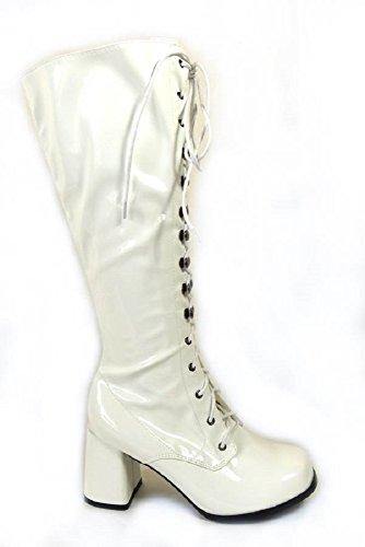 Damen-GoGo-Stiefel für Kostümfeiern, 60er/70er-Retro-Look White Patent (11828)