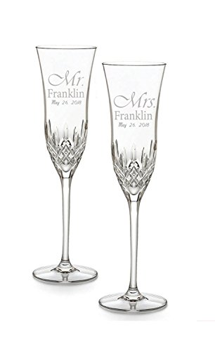 Waterford Lismore Essence Set of 2, Custom Wedding Flutes, Personalized Champagne Glasses, Engraved Wedding Glasses