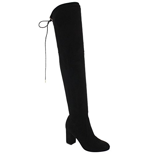 Women's Thigh High Boots Stretchy Drawstring Over The Knee Chunky Block Stiletto Heel Boots Black 10