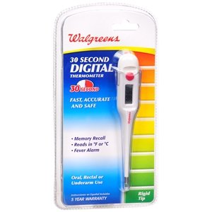 Walgreens 30 Sec Rigid Thermometer, 1 ea