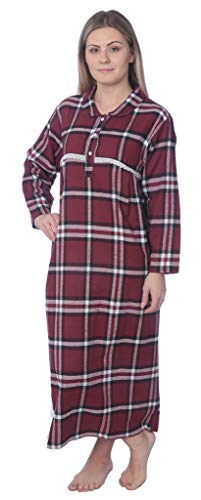 K# Women's Full Length Brushed Cotton Flannel Plaid Nightgown WF02_Y19 Black/Maroon L