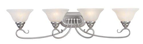 Livex Lighting 6104-91 Coronado 4 Light Brushed Nickel Vanity with White Alabaster Glass