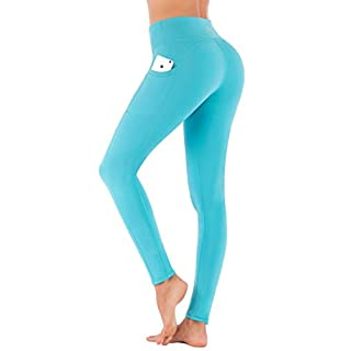 IUGA High Waist Yoga Pants with Pockets, Tummy Control, Workout Pants for Women 4 Way Stretch Yoga Leggings with Pockets (7840 Light Blue, Small)