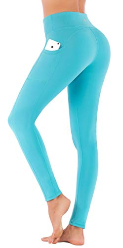 IUGA High Waist Yoga Pants Shorts with Pockets Tummy Control Workout Yoga Shorts Side Pockets (7840 Light Blue, Small) by IUGA (Image #1)