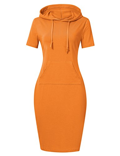 Tan Short Set - MISSKY Sweatshirts for Women Short Sleeve Pocket Casual Pullover Hoodie Dress for Summer Dresses for Women (XL, Orange Short Sleeve)
