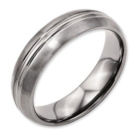 Bridal Titanium Grooved 6mm Brushed and Polished Band