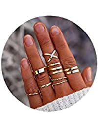 8 PCS Simple Knuckle Midi Ring Set Vintage Gold for Women/Girl CZ Finger Stackable Rings Set DIY Jewelry Gifts