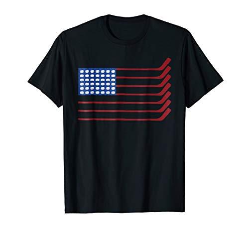USA American Flag Hockey Cool Ice Skating Tshirt Player -