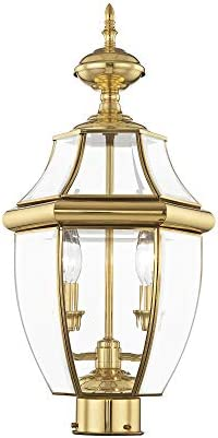 Livex Lighting 2254-02 Monterey 2 Light Outdoor Polished Brass Finish Solid Brass Post Head with Clear Beveled Glass