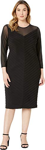 Adrianna Papell Women's Plus Size Matte Jersey Sheath Dress with Illusion Mesh V-Neckline Black 14 W