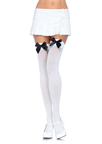 Leg Avenue Women's Opaque Thigh High Stockings with Satin Bow, White/Black, One (Halloween Stocking)