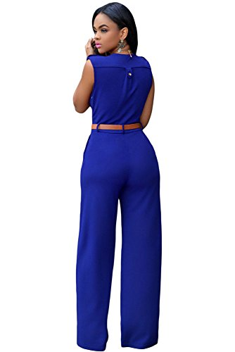 Damen Royal Blau Gürtel Ärmellos breit Bein Overall Catsuit Clubwear Kleidung Größe L UK 12EU 40