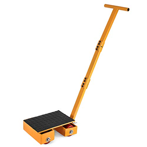 OrangeA Industrial Machinery Mover 13200Lbs Capacity Machinery Mover Skates 4 Rollers 180 Degree Rotation Machinery Mover Dolly with 39 Inch Push Rod (6T with Bar/ 180 Rotation)
