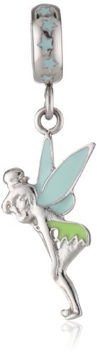 Disney Stainless Steel Tinker Bell Enamel Dangle Bead Charm