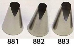 Ateco #881 & #882 & #883 - Set of 3 St Honore Pastry Tips - Stainless Steel