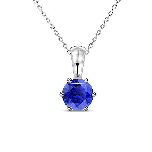 Cate & Chloe White Gold Birthstone Necklace, 18k Gold Plated Necklace with 1ct Sapphire Birth Stone Swarovski Crystal, September Birthstone Jewelry for Women